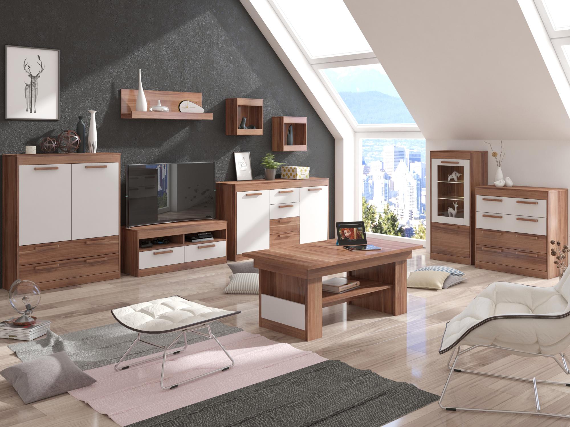 MAXIM obývací pokoj 6, švestka/bílá