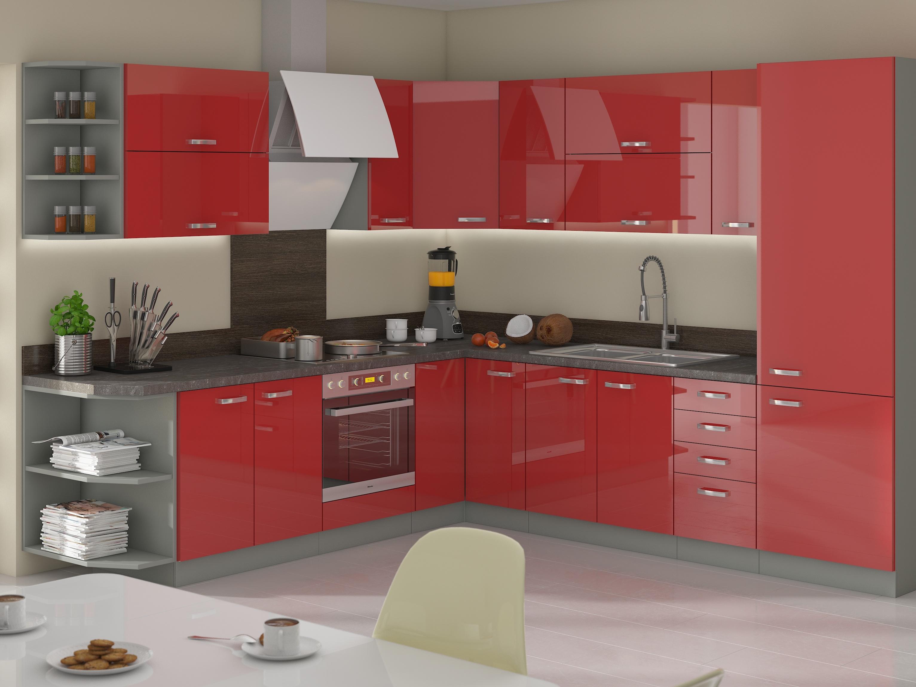 Rohová kuchyně ROSE 260x270 cm, šedá/ červený lesk