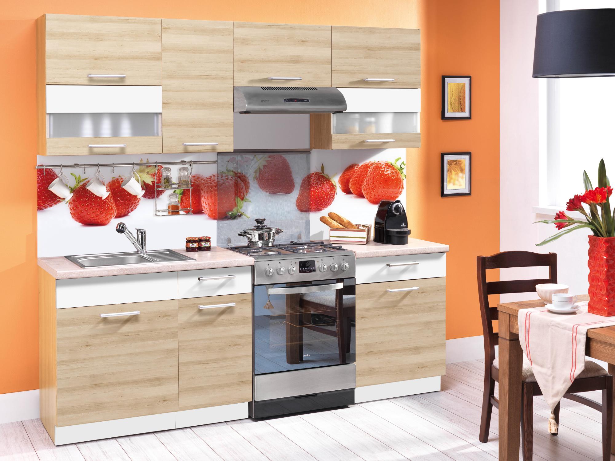 Kuchyně MODENA 160/220 cm, buk/bílý lesk