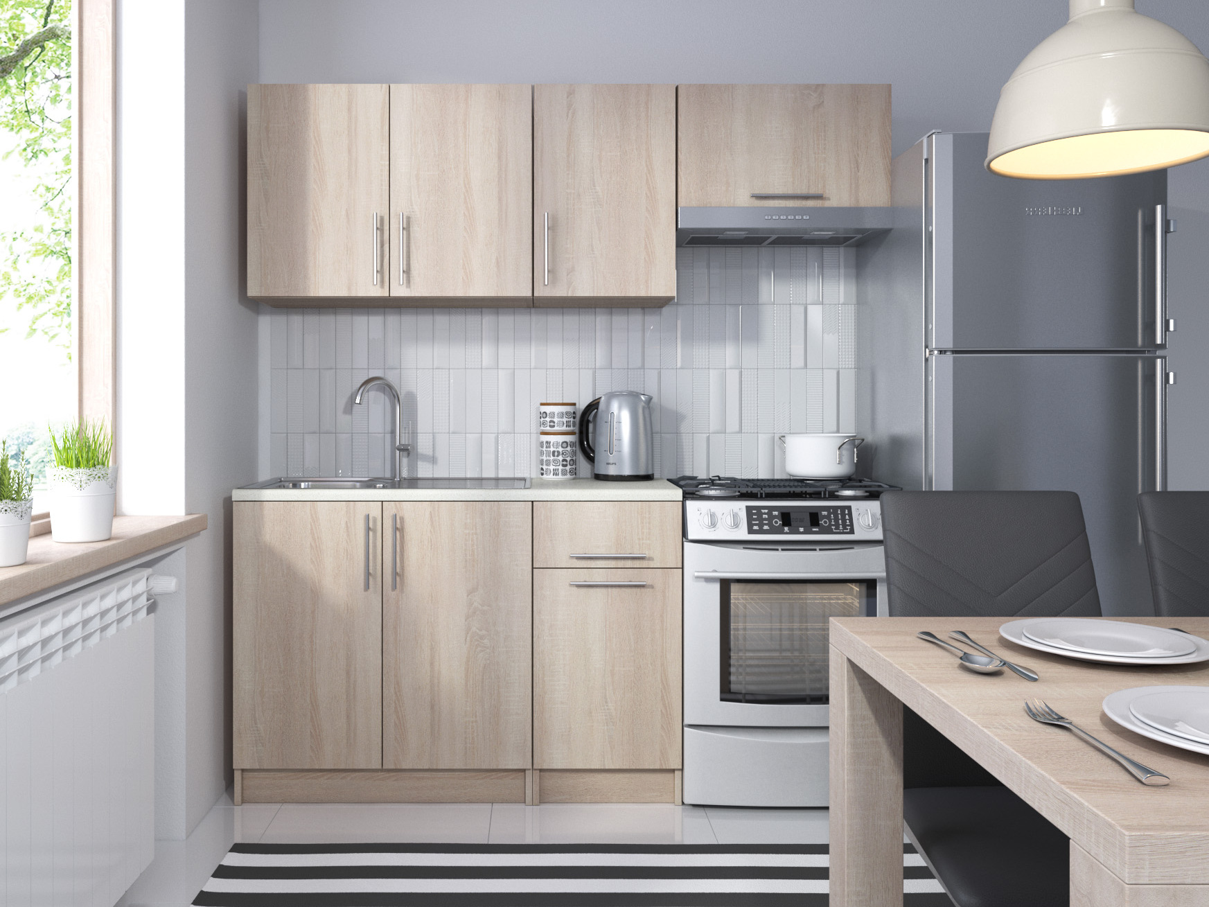 Kuchyně NEJBY 120/180 cm, dub sonoma