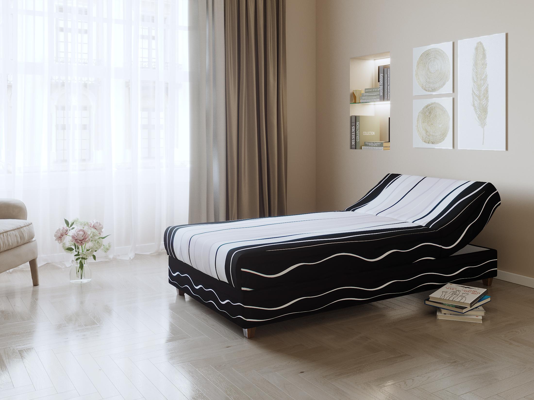 Postel NEJBY, 90x198 cm, čalouněná, černo-bílo-šedá