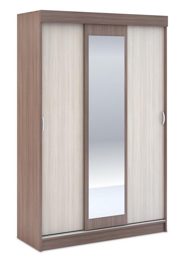Šatní skříň BAJSA 3D se zrcadlem, světlý a tmavý jasan šimo