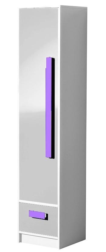 Policová skříň GULLIWER 4, bílá lesk/fialová