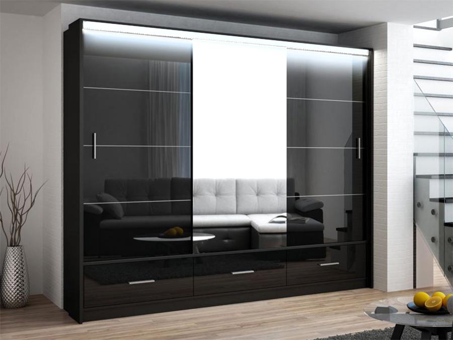 Šatní skříň MARSYLIA 250, černá s osvětlením