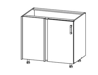 FIORE dolní rohová skříňka DNW 105/82, korpus bílá alpská, dvířka bílá supermat