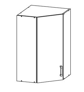FIORE horní rohová skříňka GNWU 60/95, korpus congo, dvířka bílá supermat