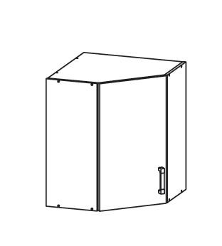 FIORE horní rohová skříňka GNWU 60/72, korpus congo, dvířka bílá supermat