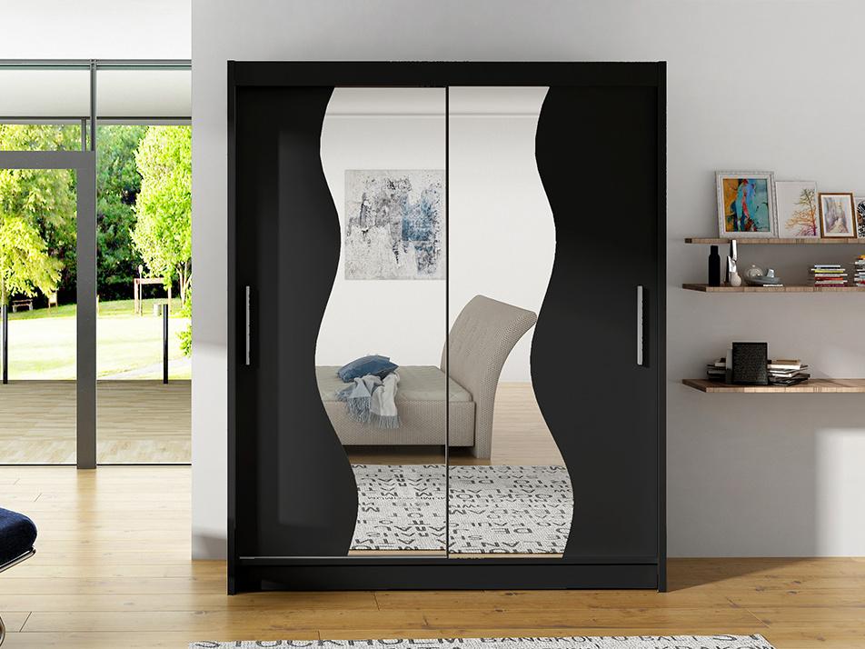 Levně Šatní skříň BEGA S, černá/zrcadlo