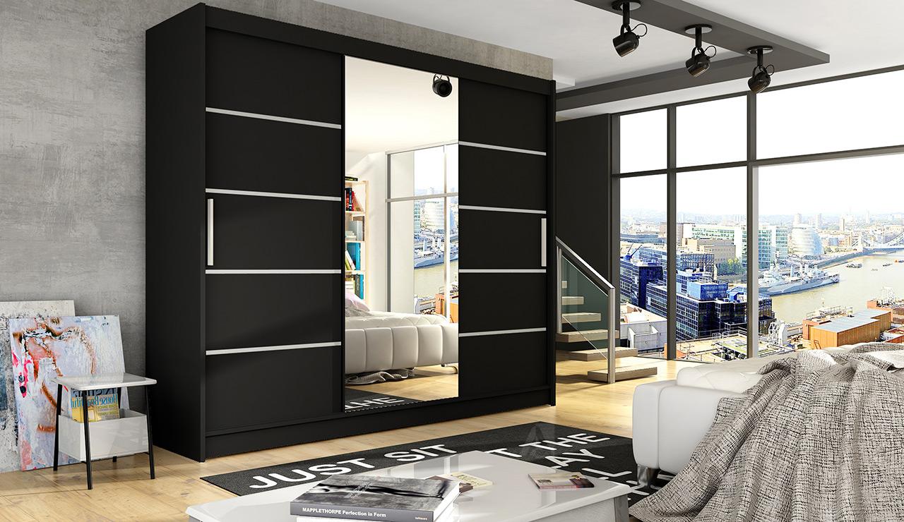 Šatní skříň ASTON VI, černá/zrcadlo