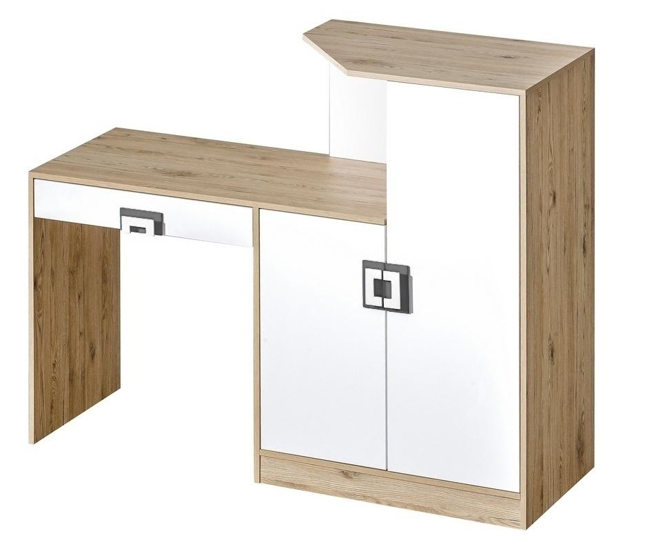 Pracovní stůl s komodou NIKO 11, dub jasný/bílá/popel