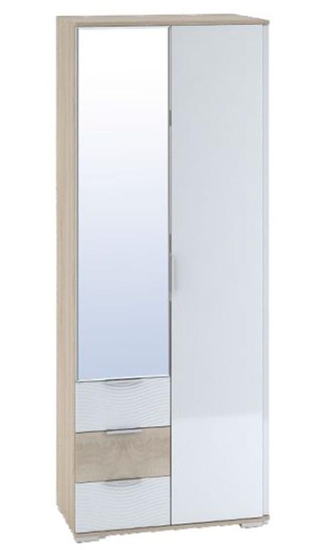 Šatní skříň SKELKAS 2D, sonoma/bílý lesk