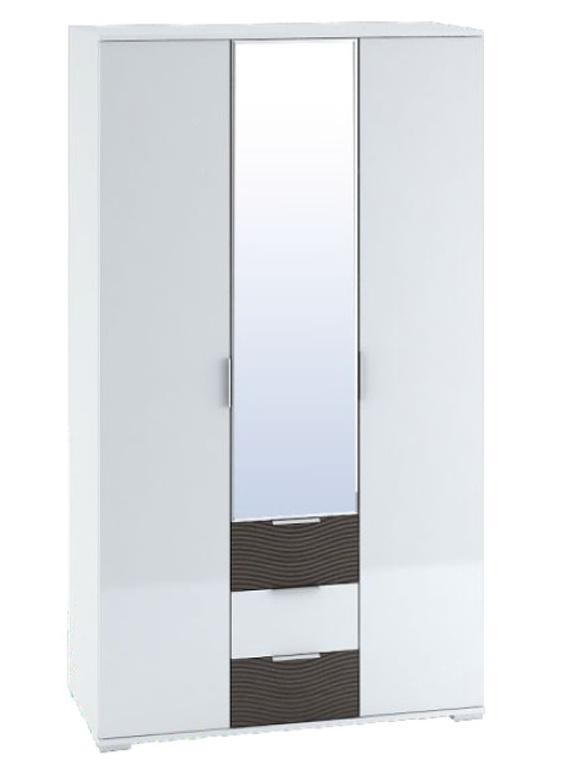 Šatní skříň SKELKAS 3D, wenge/bílý lesk