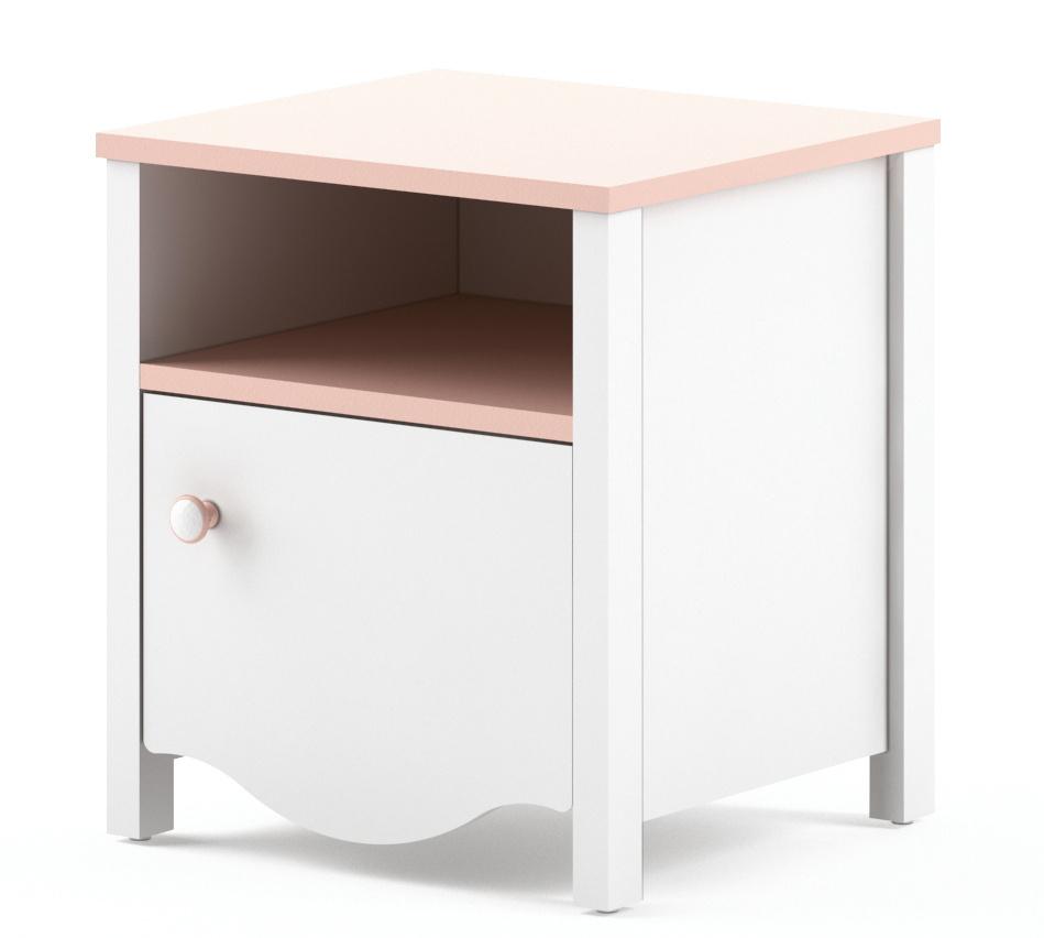 Noční stolek CHAUL, bílý/růžový