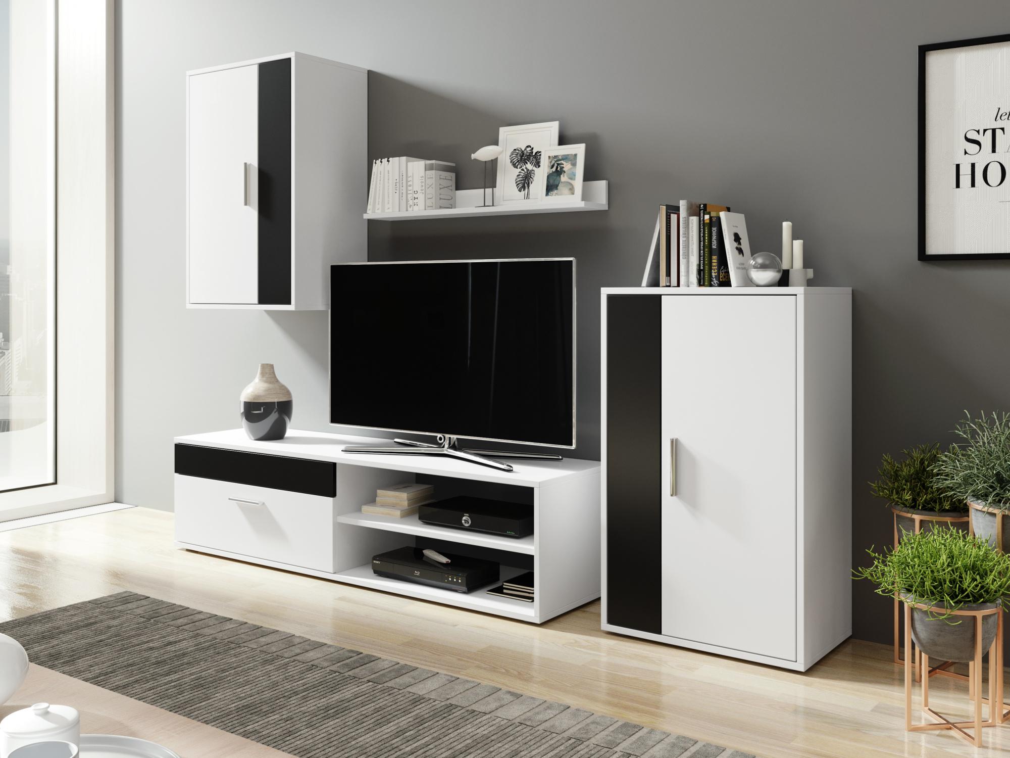 Obývací stěna NEJBY v barvě bílá/černá