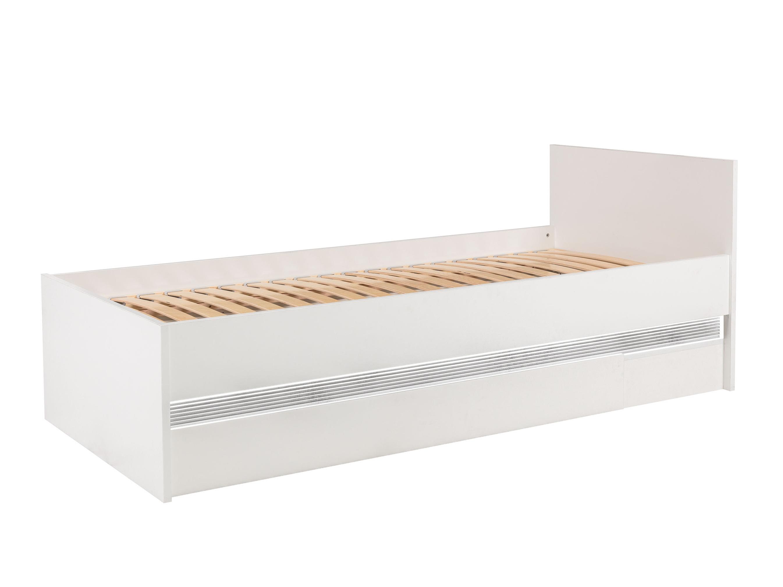 N19 - Postel 90x200 cm NEO N19 s LED osvětlením, vysoký bílý lesk/beton