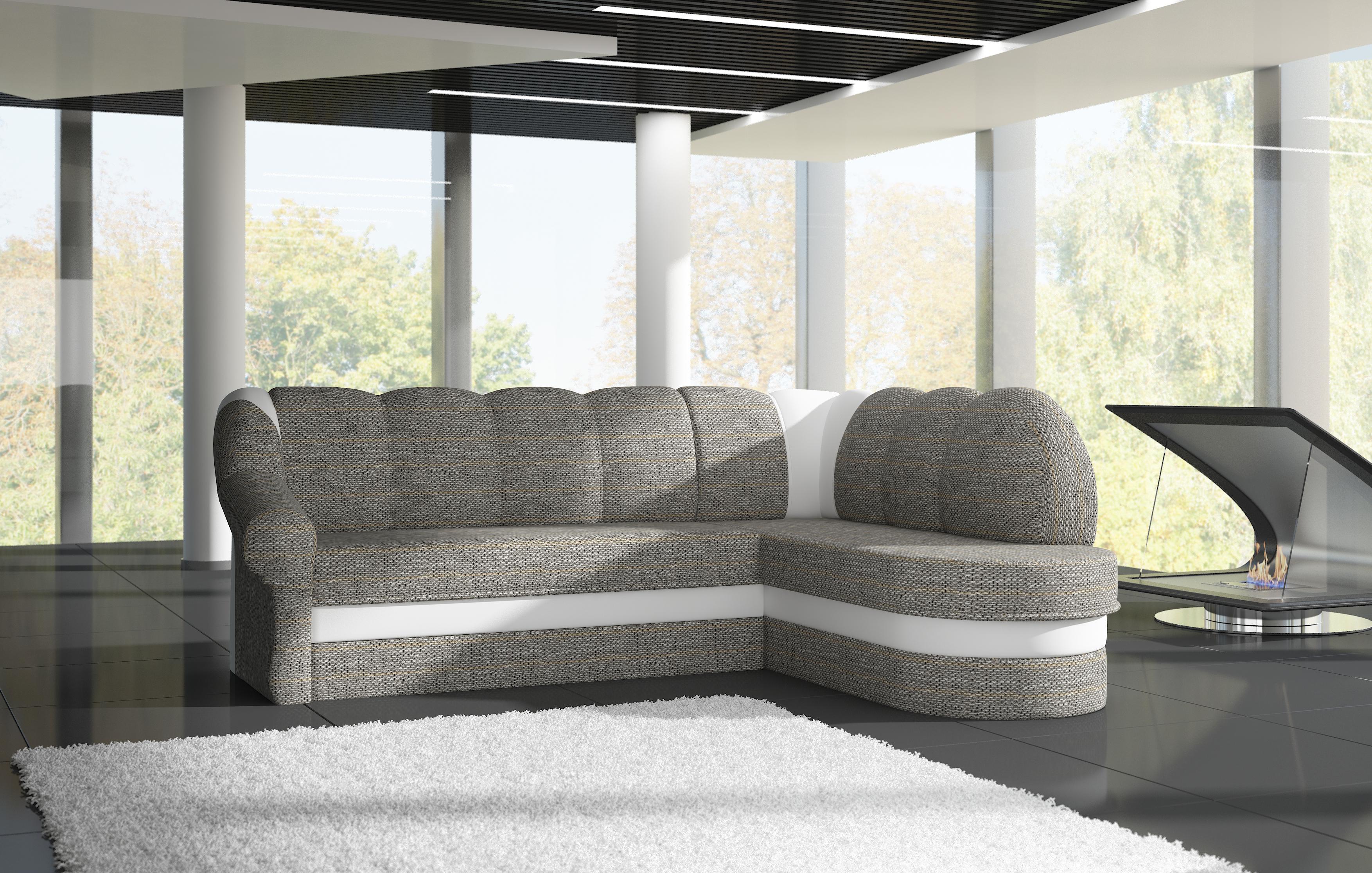 Rohová sedačka TONIL, pravá, šedá látka/bílá ekokůže