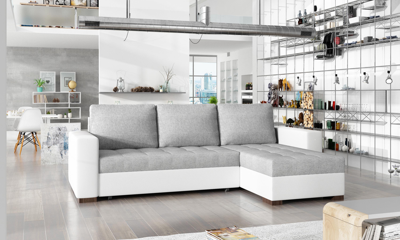 Rohová sedačka SKELIL, světle šedá látka/bílá ekokůže