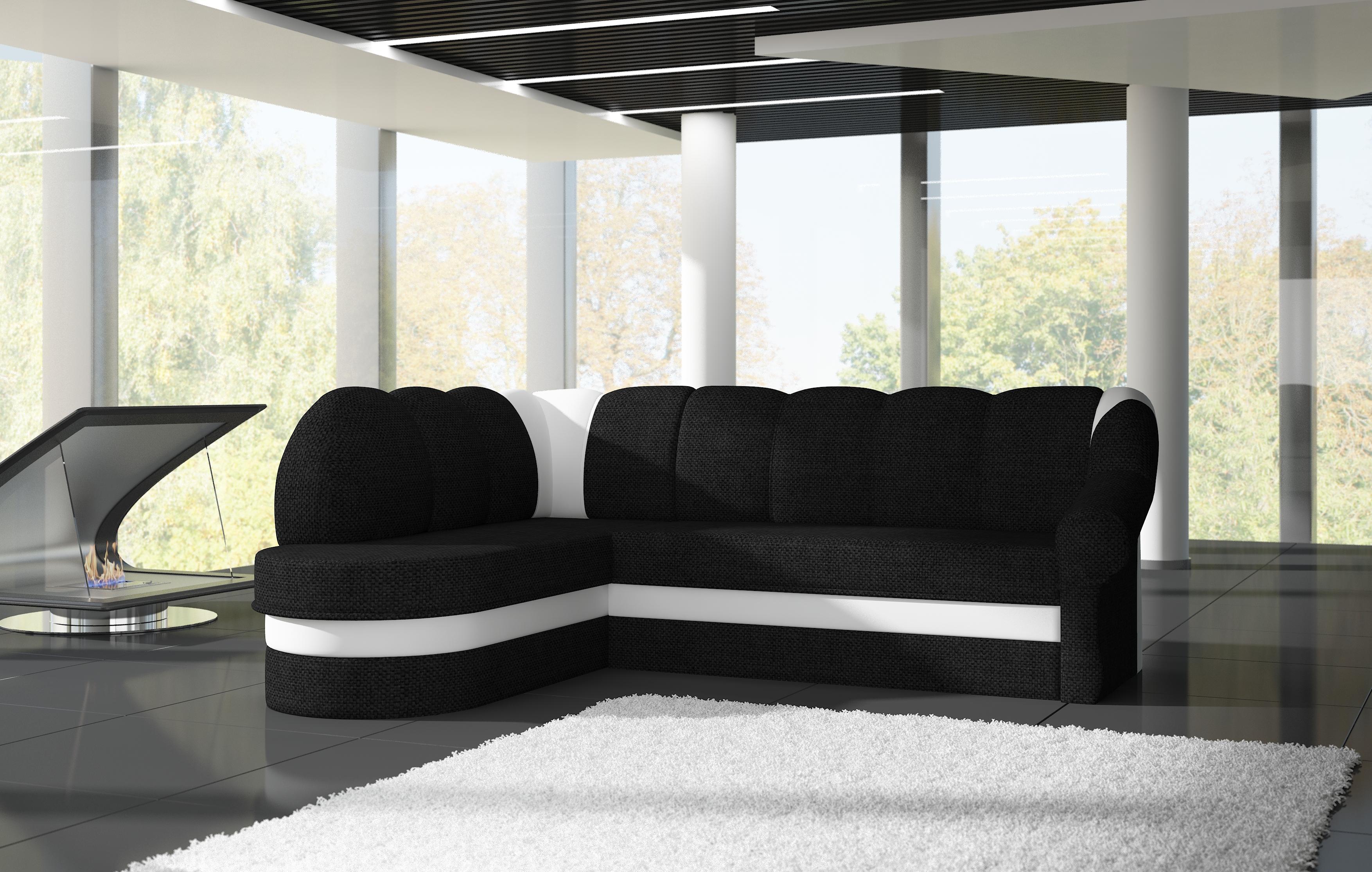 Rohová sedačka TONIL, levá, černá látka/bílá ekokůže
