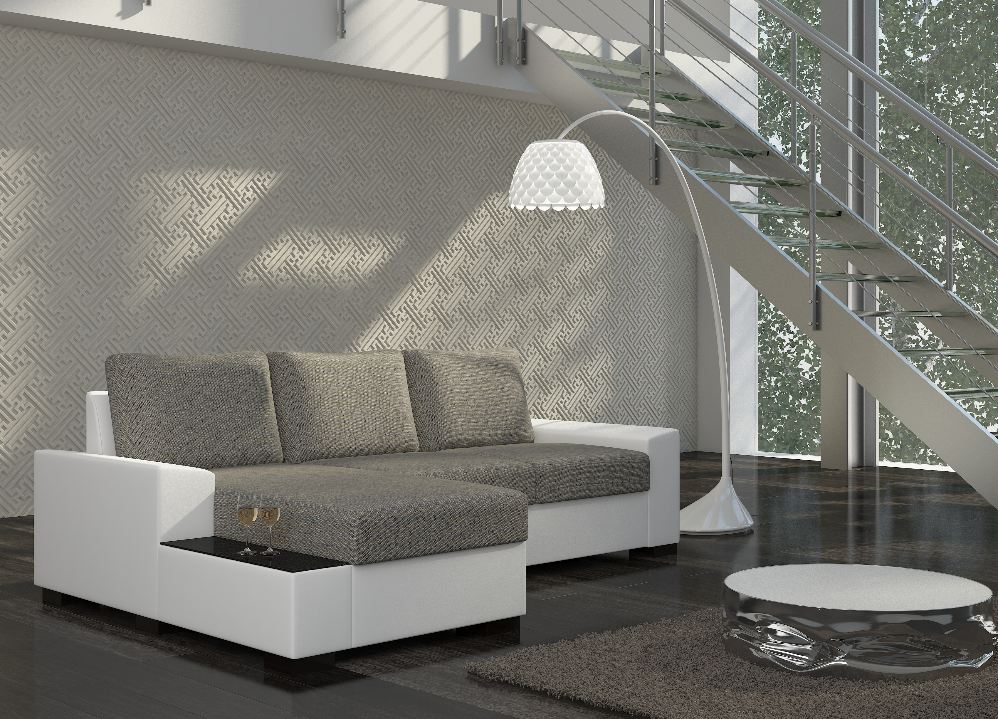 Rohová sedačka LORAND, levá, šedá látka/bílá ekokůže