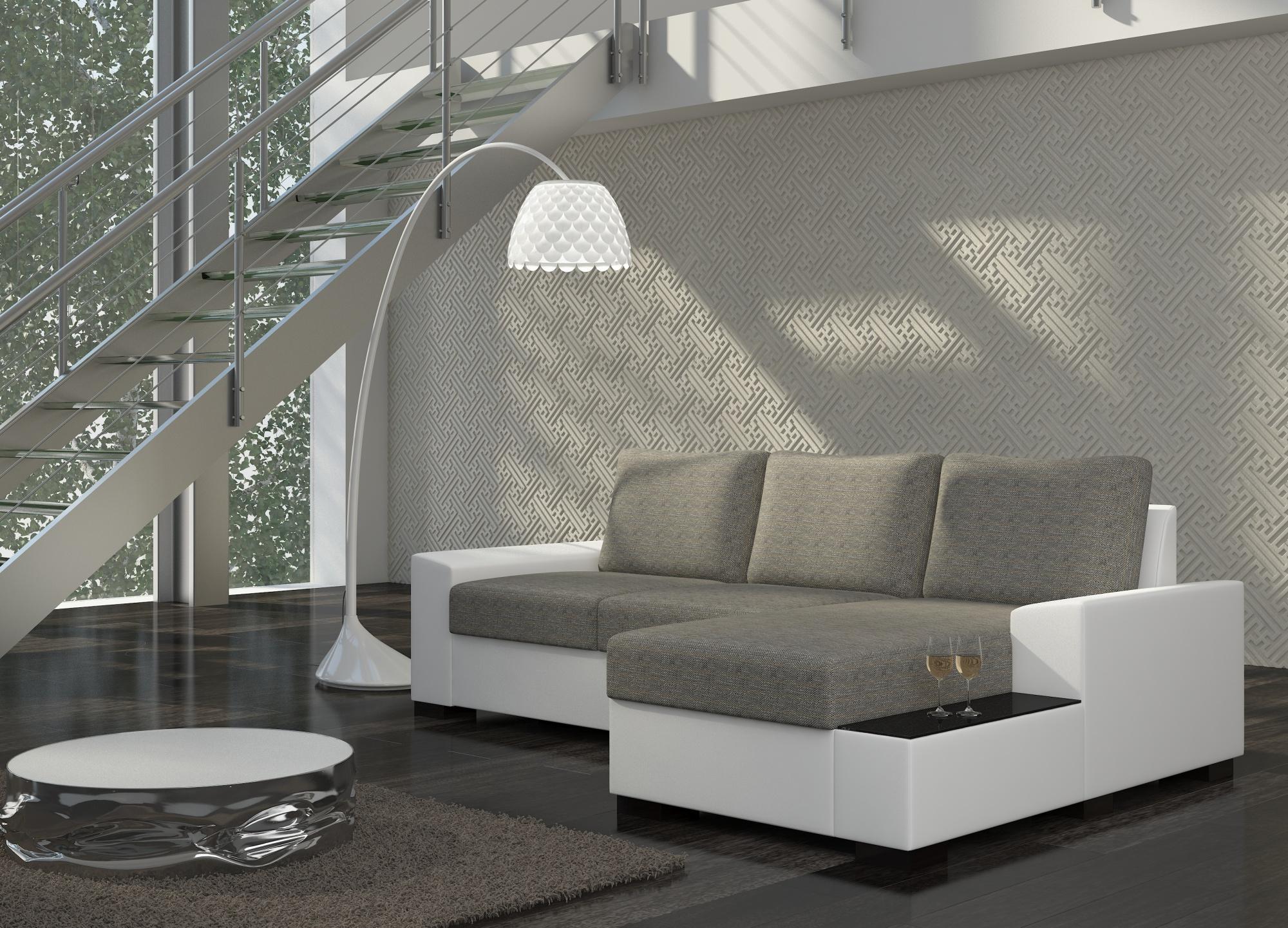 Rohová sedačka LORAND, pravá, šedá látka/bílá ekokůže