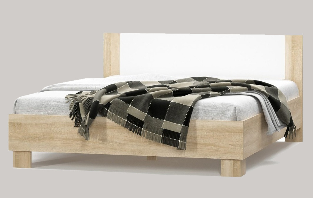 Postel MARKOS s roštem 180x200 cm, dub sonoma/bílá