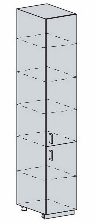 VALERIA, potravinová skříň 40 PV, wenge/bílý lesk