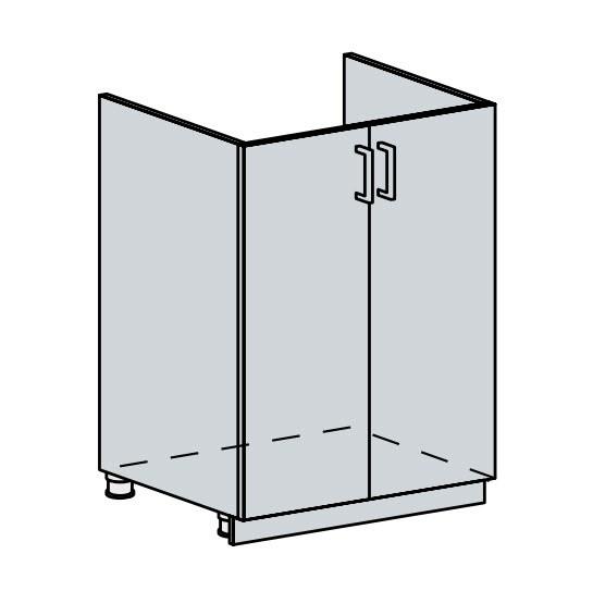 FRANASTA, dolní dřezová skříňka 60 DZ, bílá/bříza