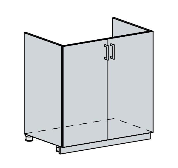 FRANASTA, dolní dřezová skříňka 80 DZ, bílá/bříza