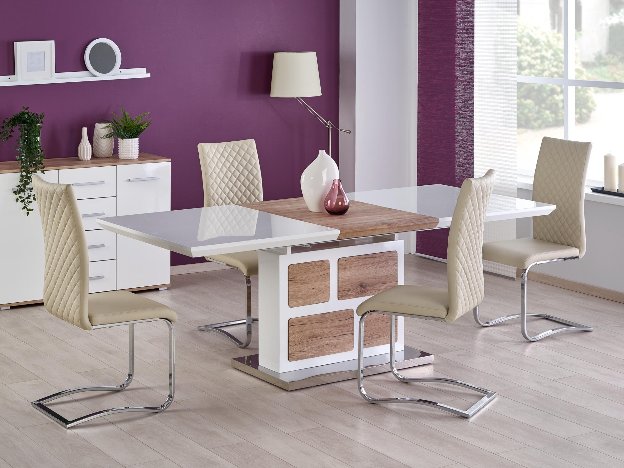 Rozkládací jídelní stůl DOMUS, bílá/dub san remo
