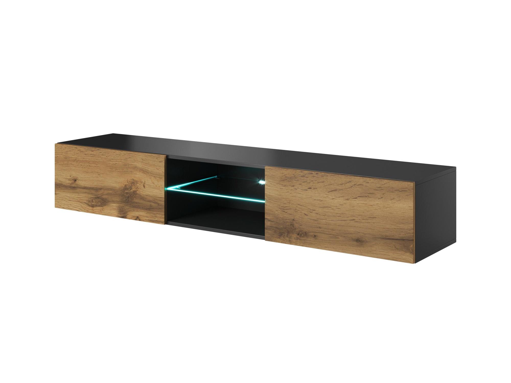 AKRAB RTV-2VS televizní stolek visící se sklem, antracit/dub wotan