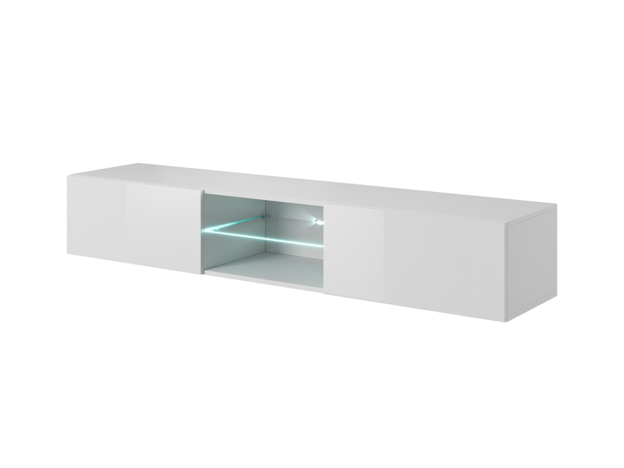 AKRAB RTV-2VS televizní stolek visící se sklem, bílá
