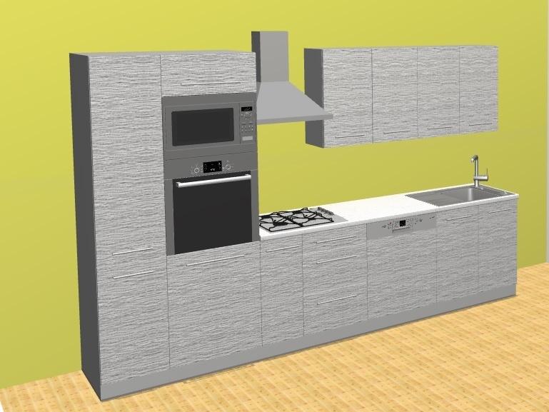 Kuchyně PLATINUM, korpus bílý, dvířka white stripes