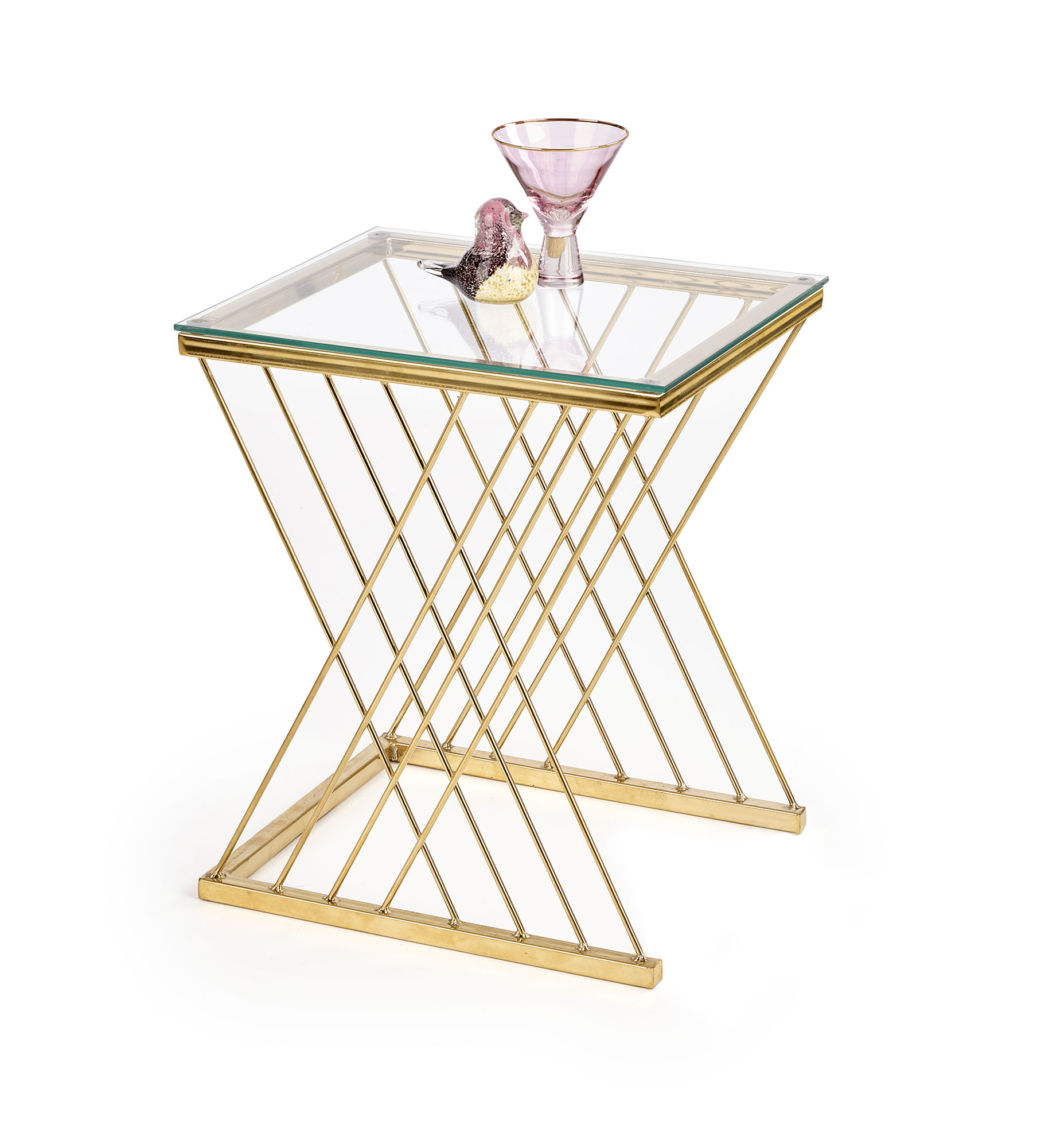 Konferenční stolek TENIRA, čiré sklo/zlatá