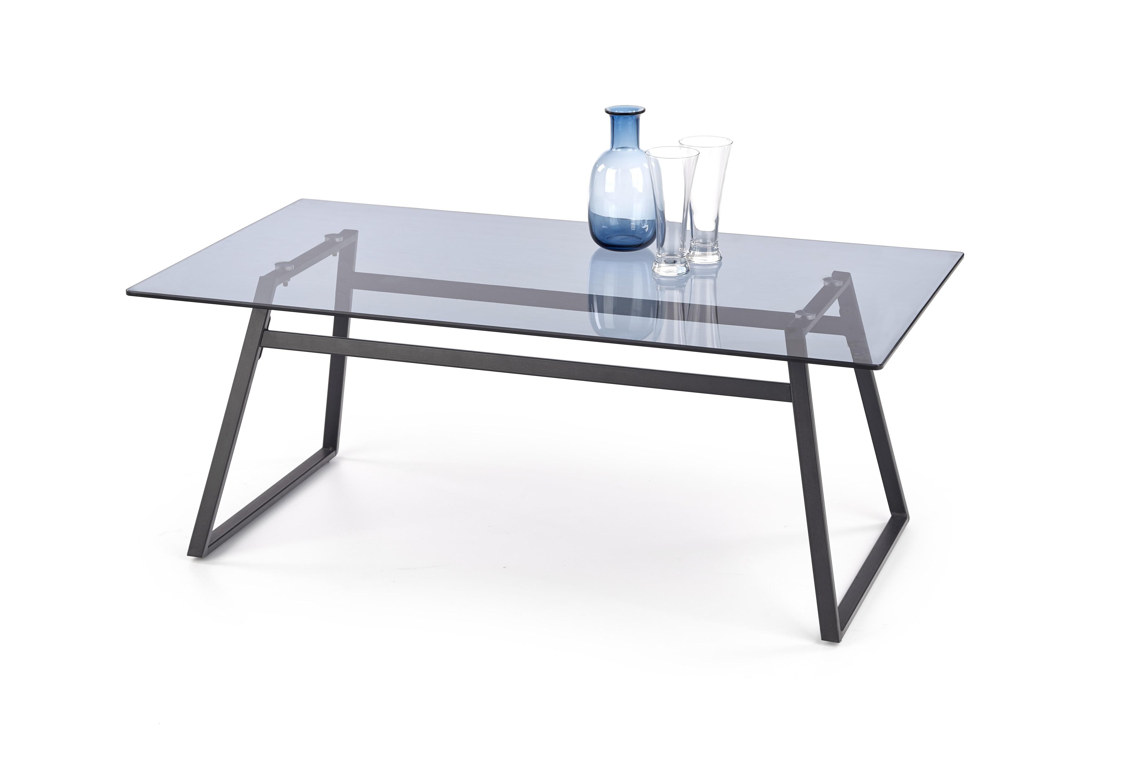 Konferenční stolek MAGHNIA, kouřové sklo/černá