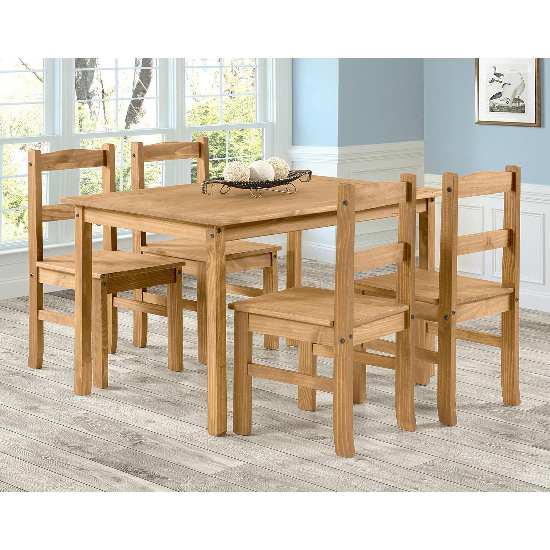 Jídelní set PIMBOW stůl 100x80 cm + 4 židle, masiv borovice