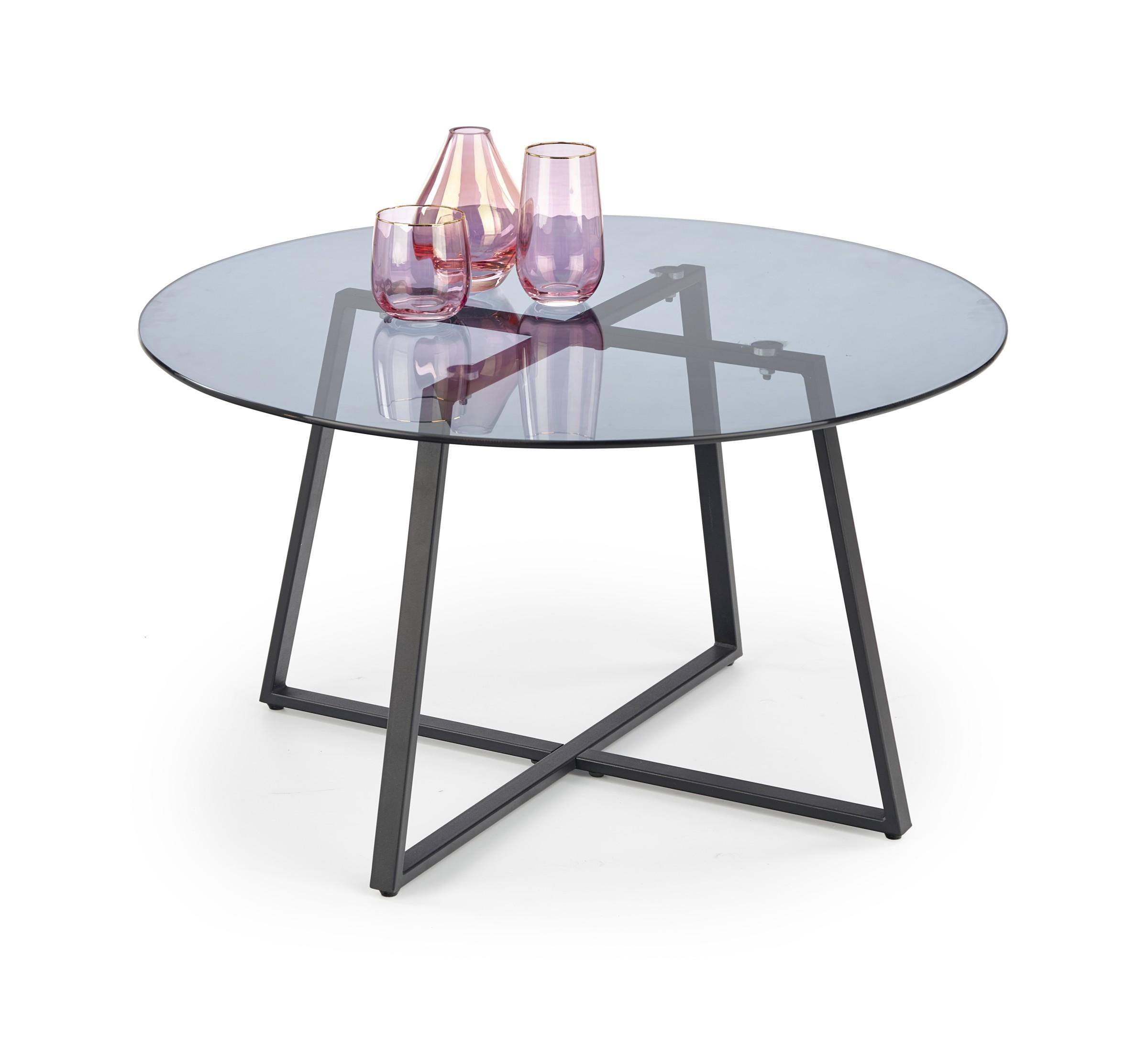 Konferenční stolek ZAPALLAR, kouřové sklo/černá