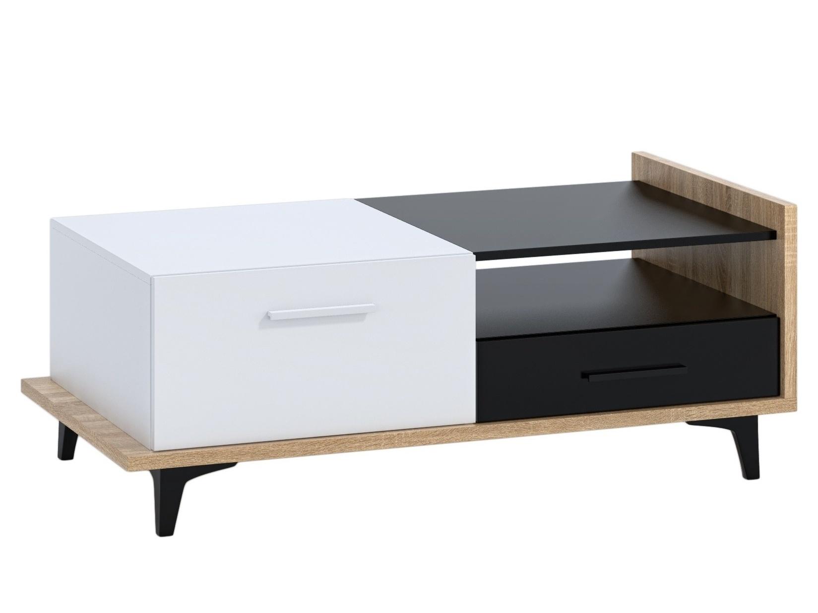 Konferenční stolek KNUT 2D2S, dub sonoma/bílá/černá, 5 let záruka