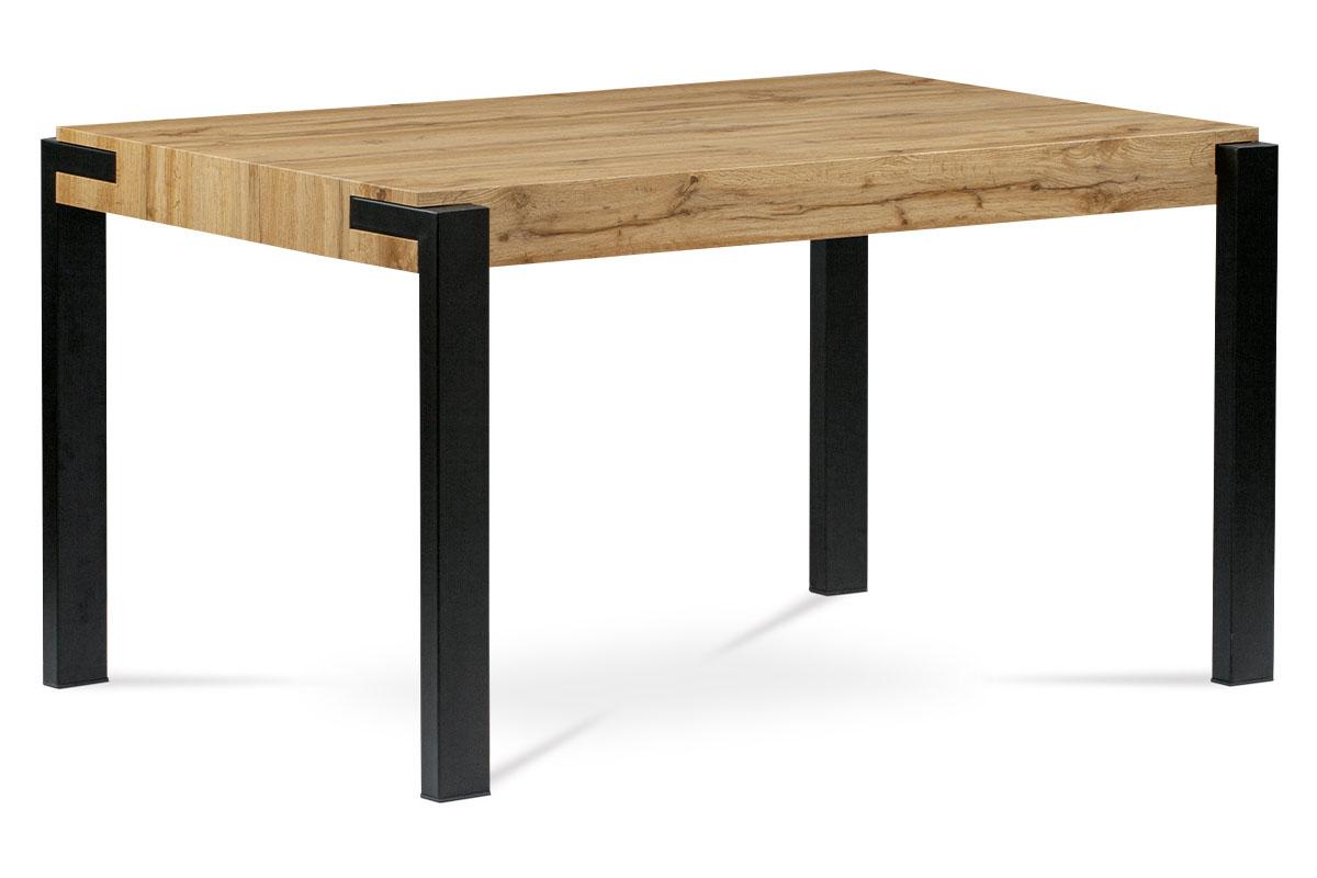 Jídelní stůl 140x88x76, deska MDF dekor divoký dub tloušťka 100mm, kov černý mat HT-725 OAK