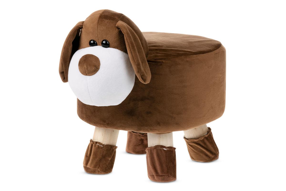 Taburet - pes, hnědá látka, dřevěné nohy LA2001