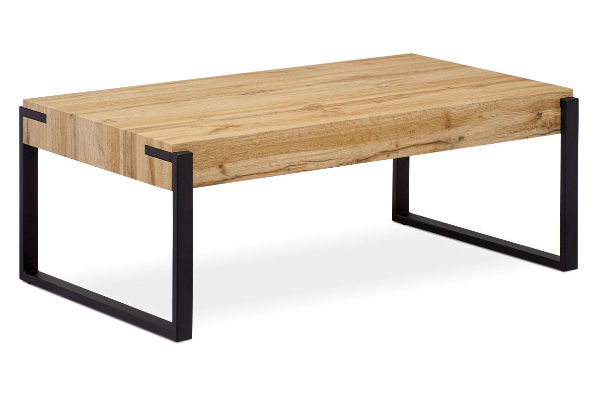 Konferenční stolek 110x60x43, deska MDF dekor divoký dub tloušťka 100mm, kov černý mat AHG-250 OAK
