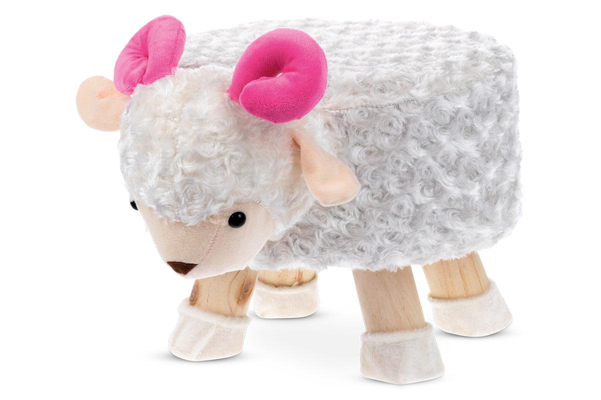 Taburet - ovce, bílá látka, dřevěné nohy LA2002