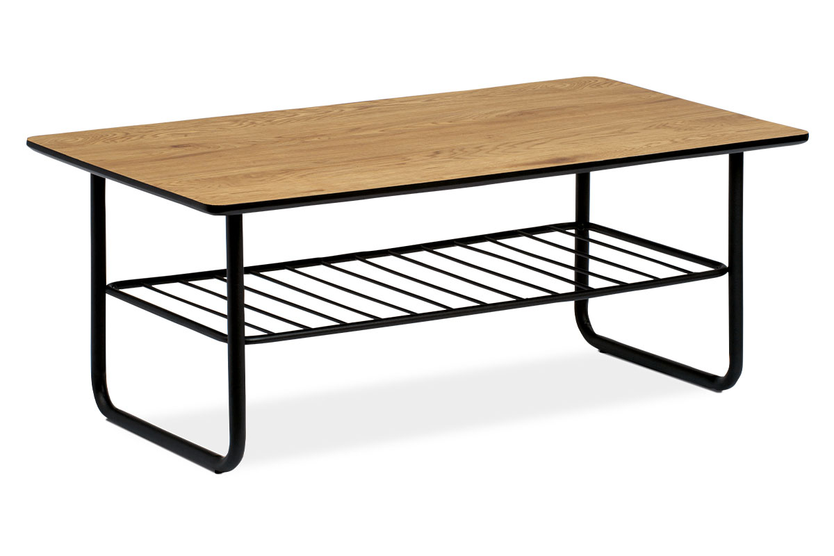 Konferenční stolek 110x60x45, tloušťka desky 25mm, MDF dekor divoký dub, kov černý matný lak AHG-382