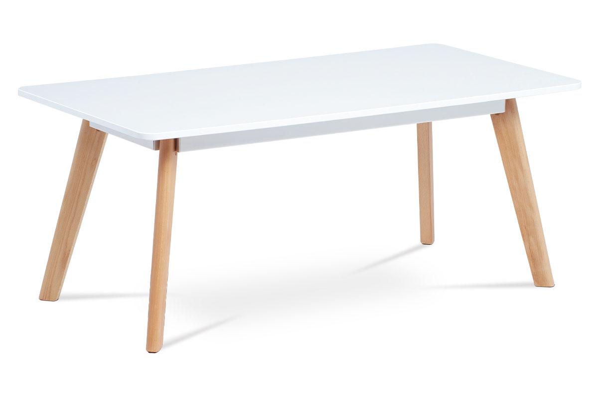 Konferenční stolek 110x55 cm, bílá matná MDF, masiv buk ACT-666 WT