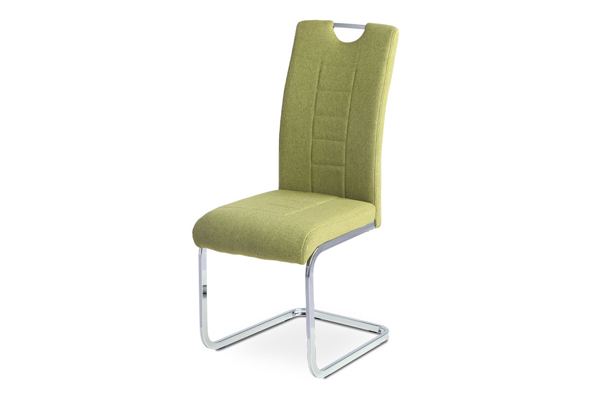 Levně Jídelní židle - zelená látka, kovová chromovaná podnož DCL-404 GRN2