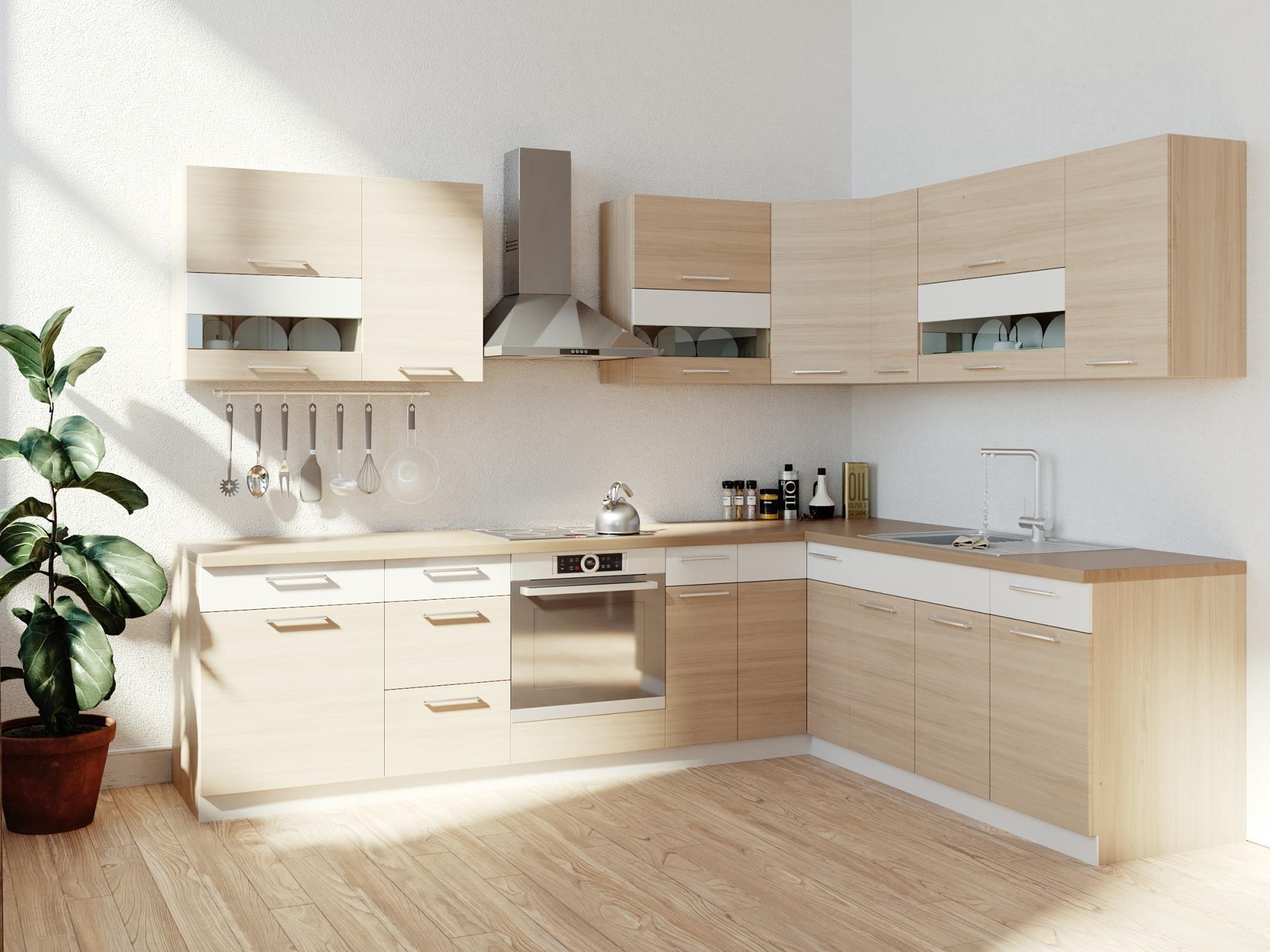 Rohová kuchyně MODENA 285x210, buk/bílý lesk