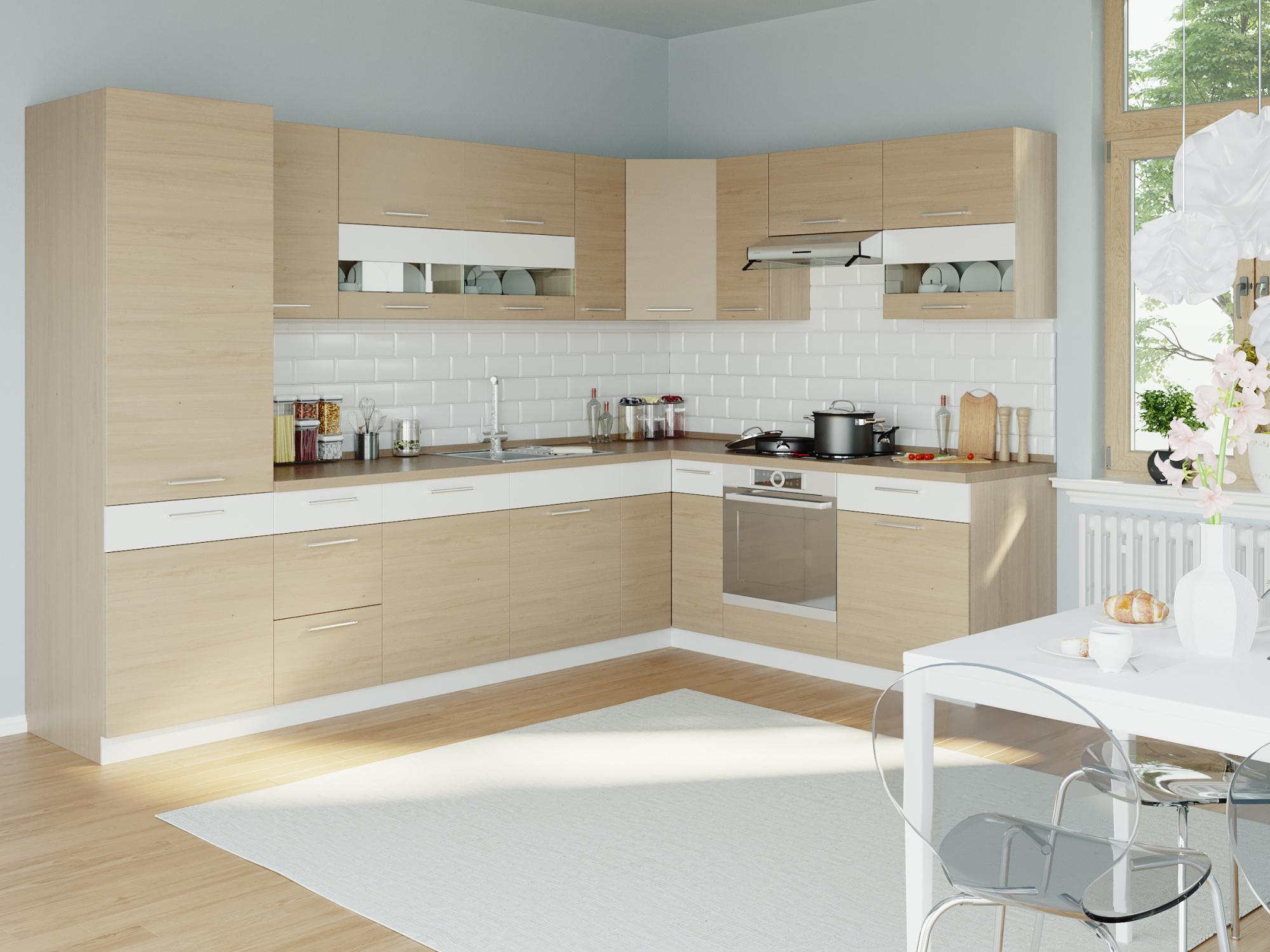 Rohová kuchyně MODENA 315x210, buk/bílý lesk