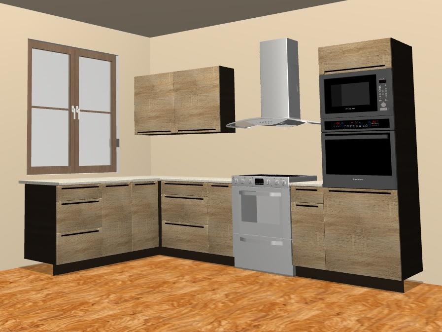 Kuchyně SOLE 195x240 cm, korpus wenge, dvířka dub arlington