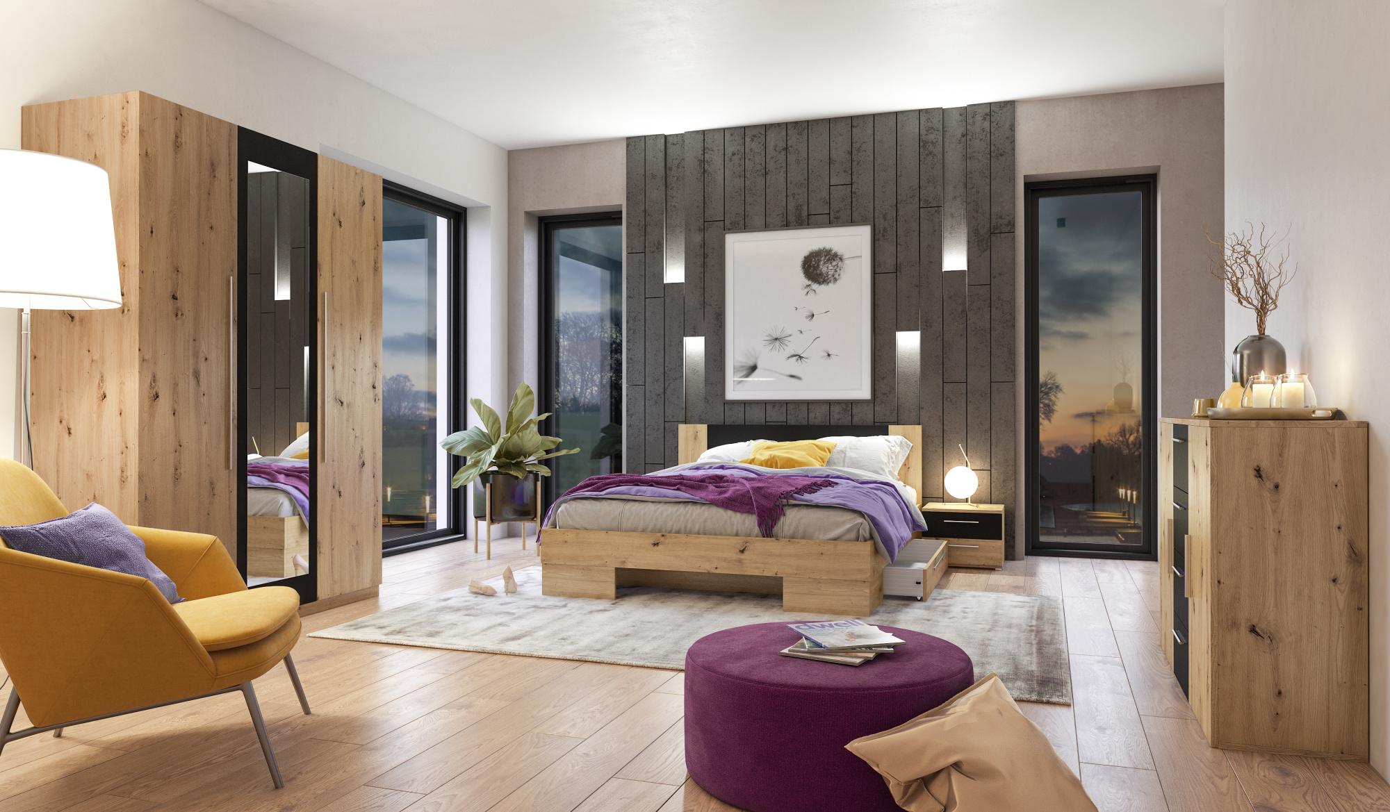 WILDER II postel 180x200 cm s nočními stolky, dub artisan/černá