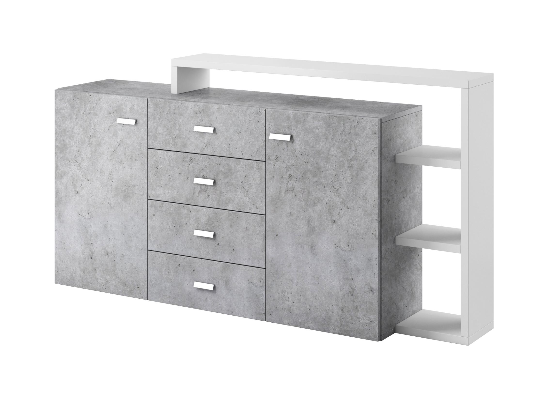 BOTA TYP 27 komoda s policí 2D4S, bílá/beton colorado