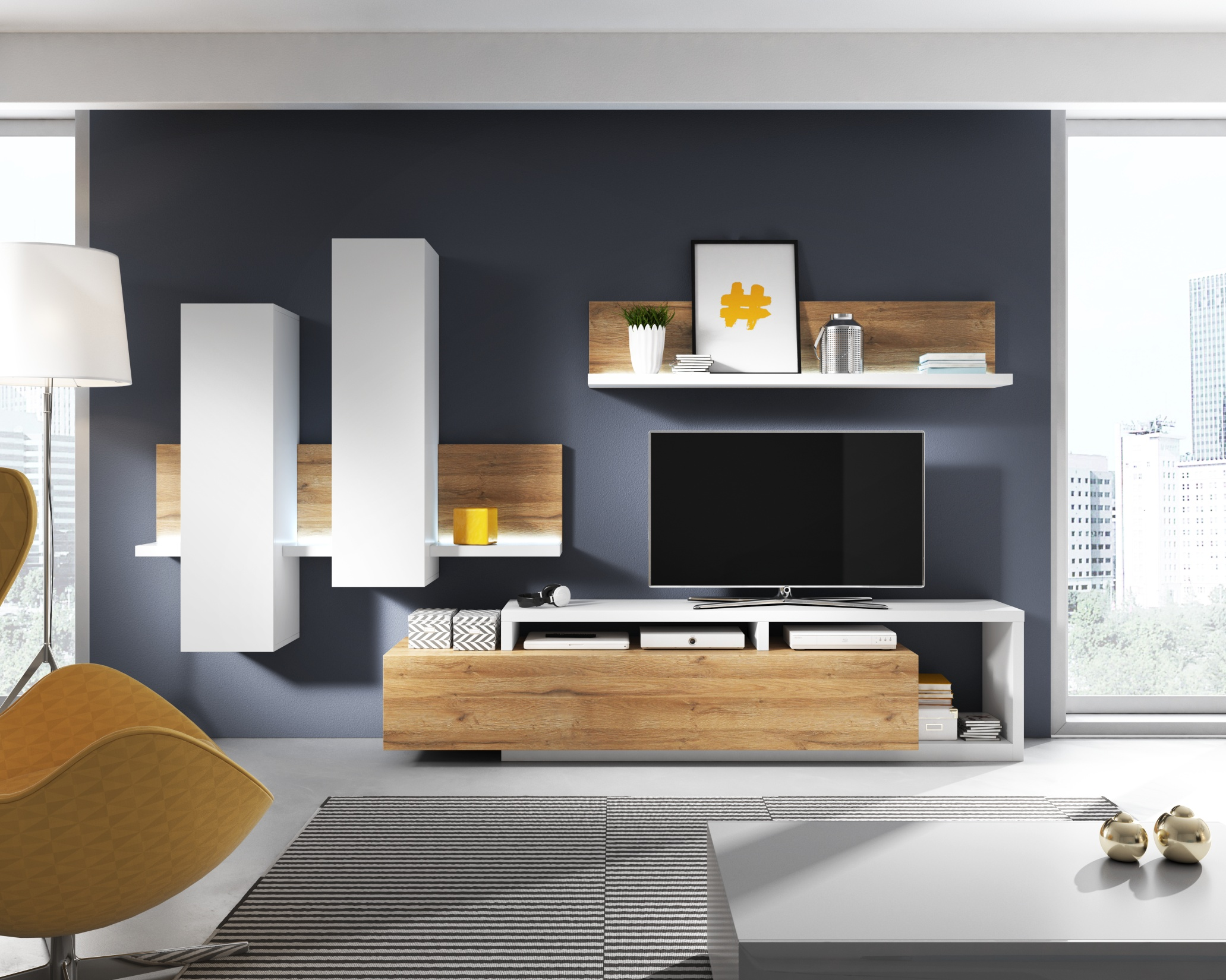 BOTA TYP 09 obývací stěna, bílá/dub grandson